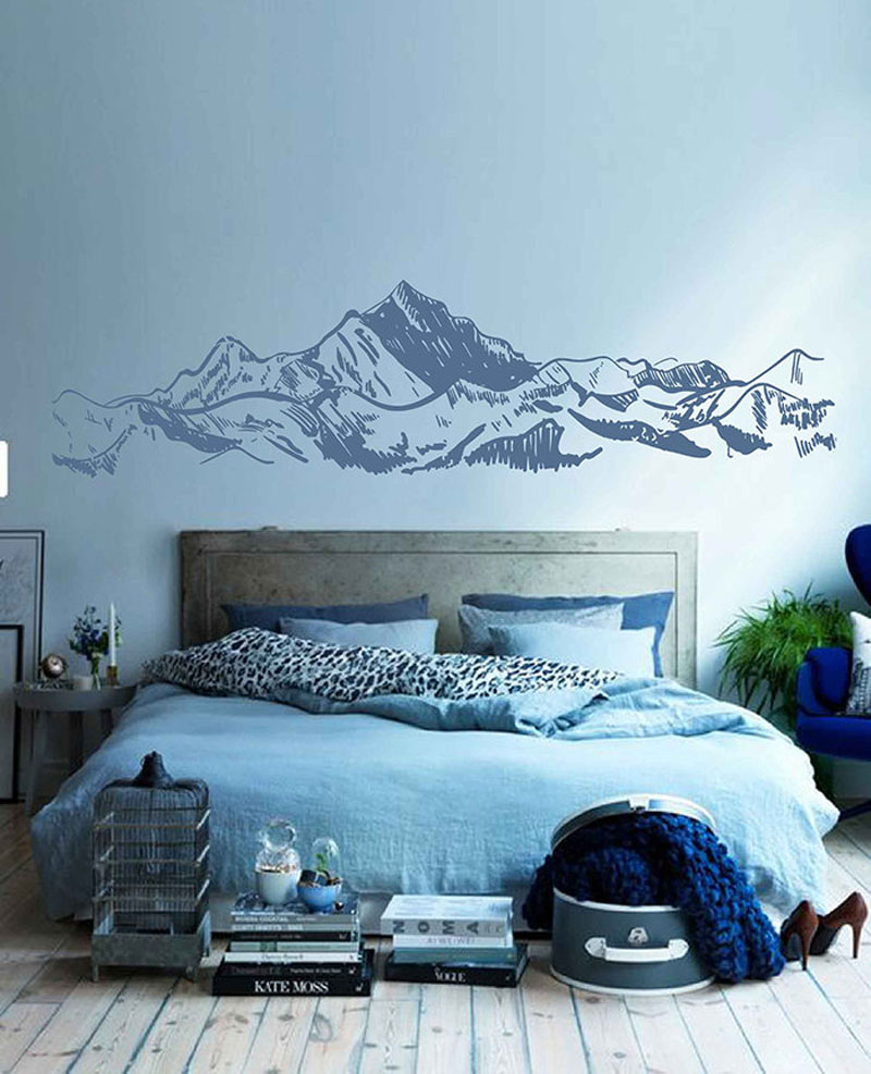 This modern mountain wall art is actually a wall decal that comes in a range of sizes and colors. #MountainWallArt #MountainArt #MountainDecor #WallDecal