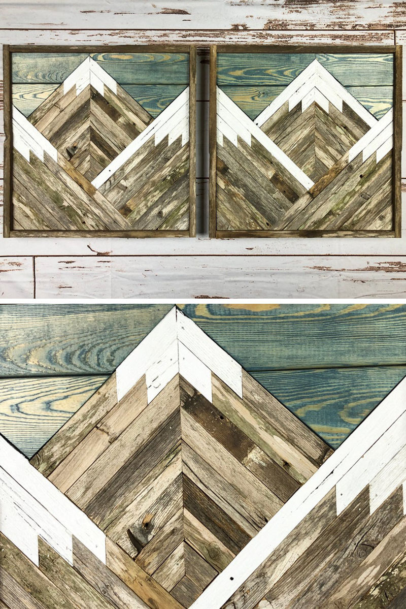 This pair of mountain artworks are made by DustySquareDesigns, from locally sourced reclaimed wood. #MountainWallArt #MountainArt #MountainDecor #WoodWallArt