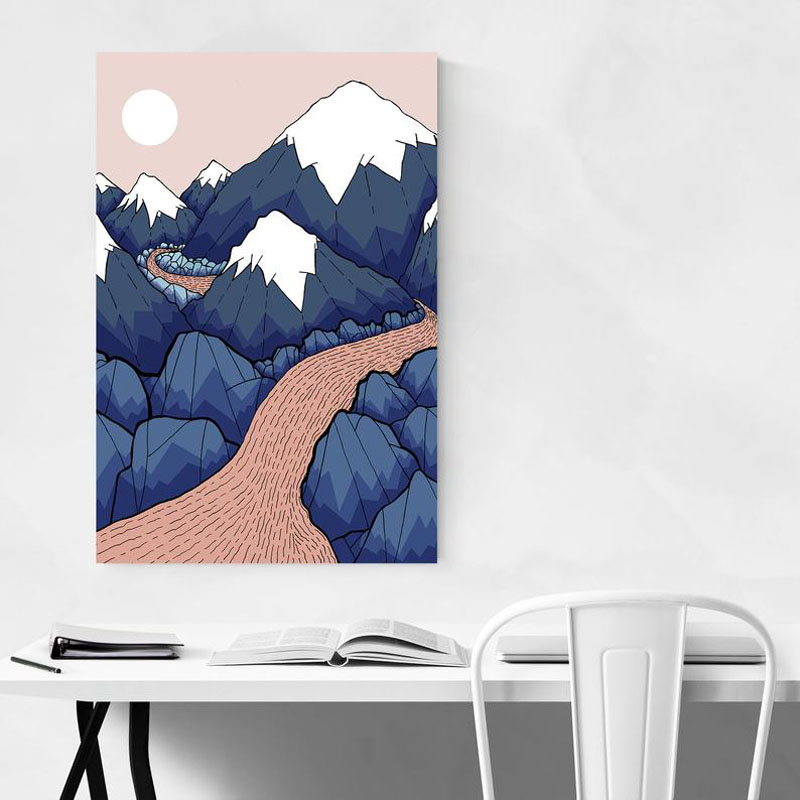Accent your modern interior with 'The Twisting River In The Mountains' by artist Steve Wade, who was inspired by the Canadian landscape. #MountainWallArt #MountainArt #MountainDecor #ModernArt