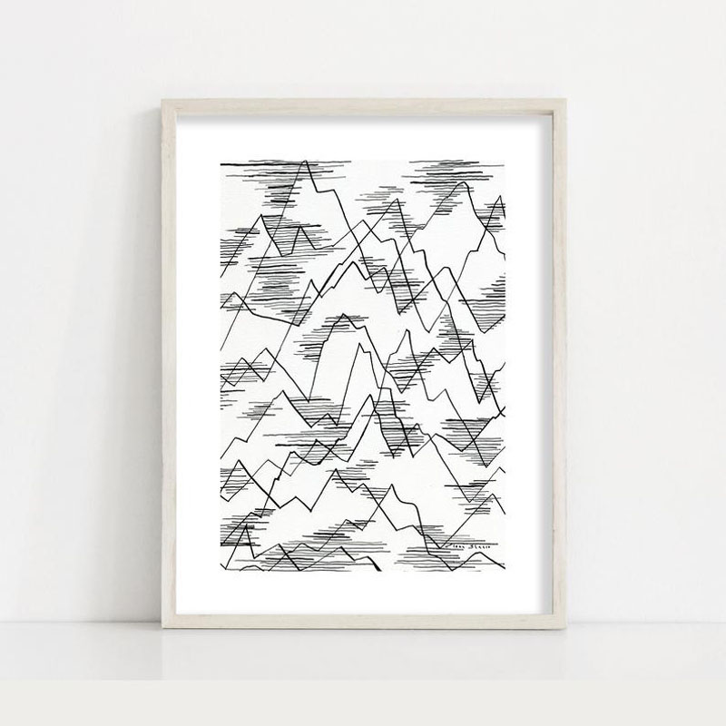 This minimalist black and white mountain line drawing by DreamyMeisme, is available as a giclee print that's a reproduction of her original artwork. #MountainWallArt #MountainArt #MountainDecor