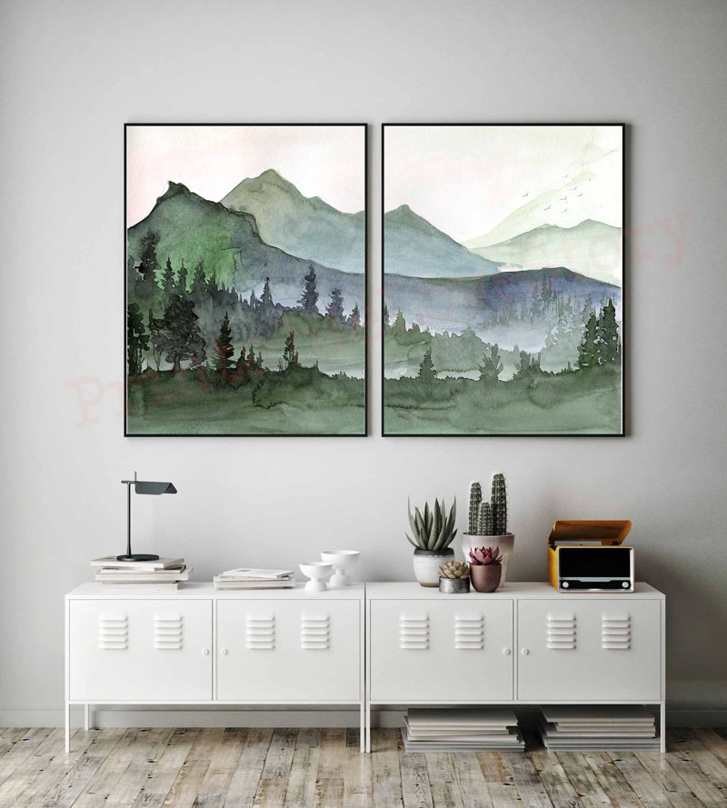 This is a set of two digital art prints from PrintableLoveStory, show hand painted watercolor mountains and forest scenes. #MountainWallArt #MountainArt #MountainDecor