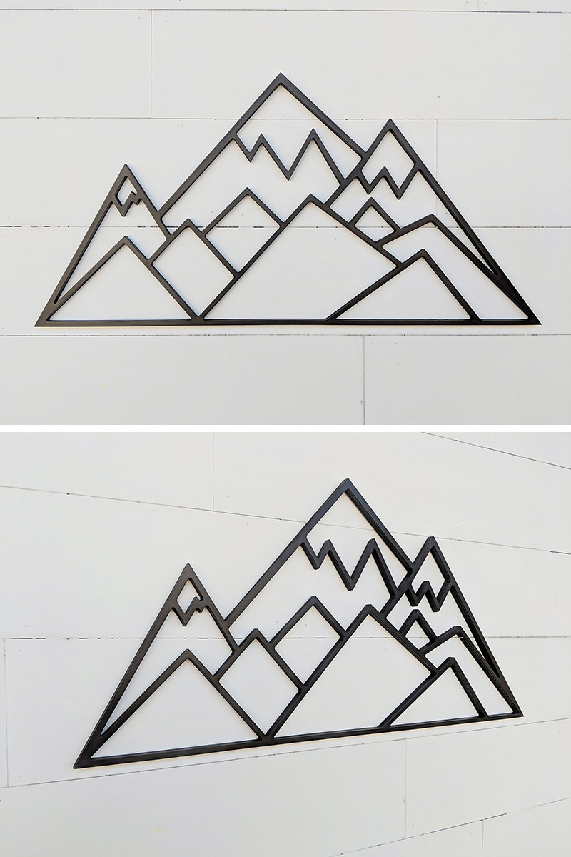 This geometric mountain scene is a great piece for decorating your space with a woodland or outdoor theme. #MountainWallArt #MountainArt #MountainDecor #WallArt
