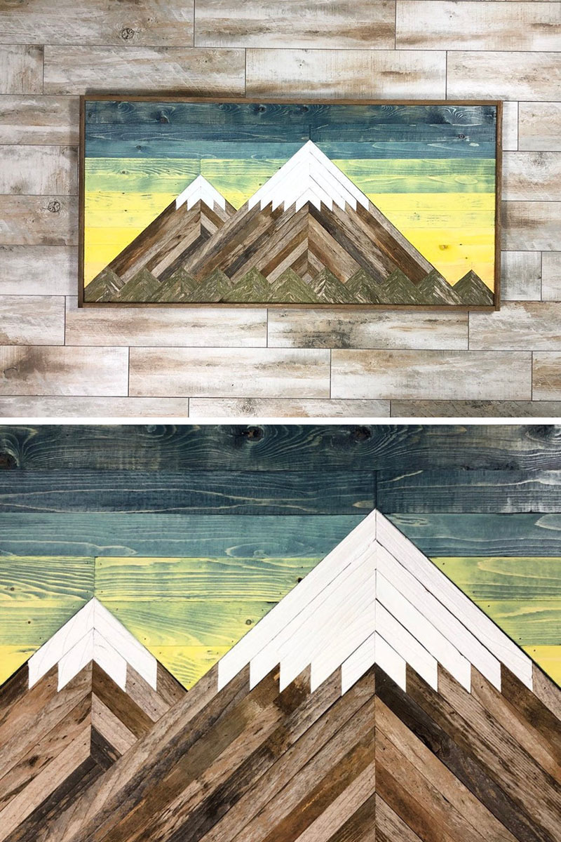 This wood Mt. Rainier Mountain wall art is created by Dusty Square Designs, in their studio in San Antonio, Texas. #MountainWallArt #MountainArt #MountainDecor #WoodWallArt