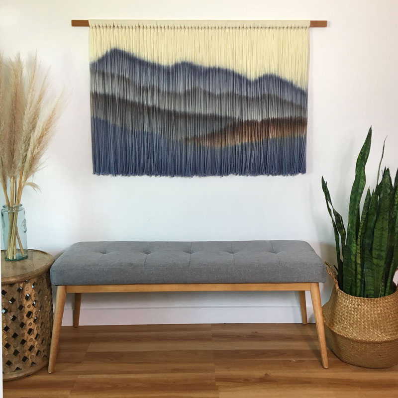 This mountain wall hanging by Inspire By Kelsey, is a dip dye tapestry that's a modern alternative to a mountain painting or print. #MountainWallArt #MountainArt #MountainDecor #MountainWallHanging #WallHanging