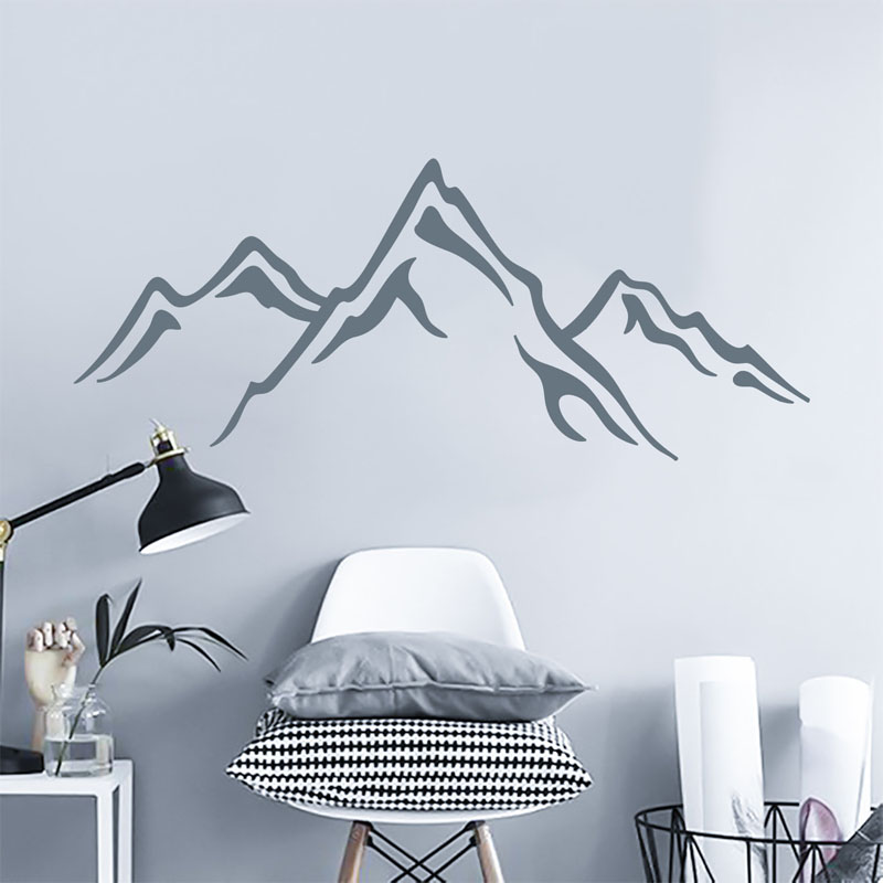 This modern mountain wall art decal has been designed by DecalsForWalls, and can be customized by size and color. #MountainWallArt #MountainArt #MountainDecor