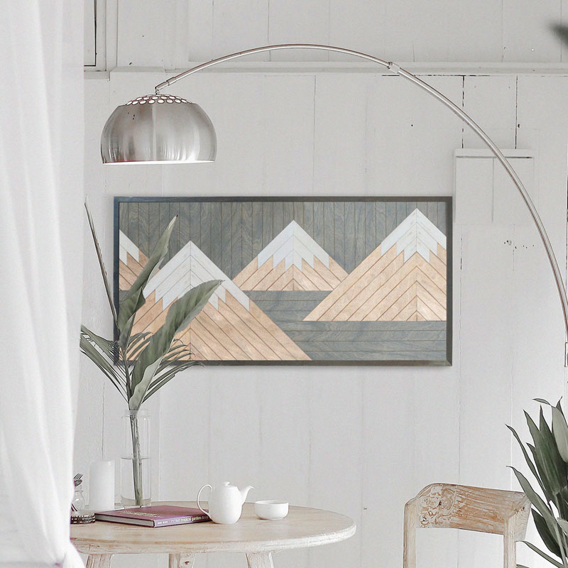 OtherFurniture has used reclaimed wood in a variety of shades, to create this subtle mountain wall art. #MountainWallArt #MountainArt #MountainDecor