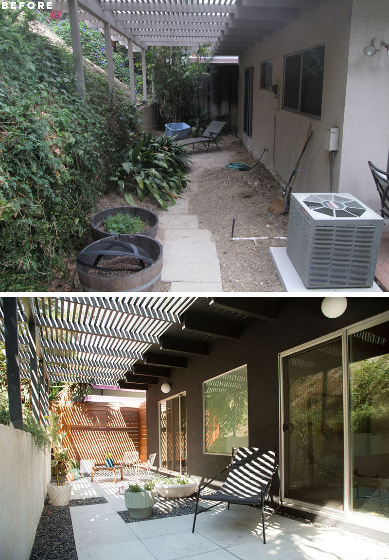 BEFORE + AFTER - This outdoor space received a fresh update, with a painted retaining wall and pergola, as well as a reorganized tile layout. Additional sliding doors and a large window has also replaced the original windows and door. #OutdoorSpace #Patio
