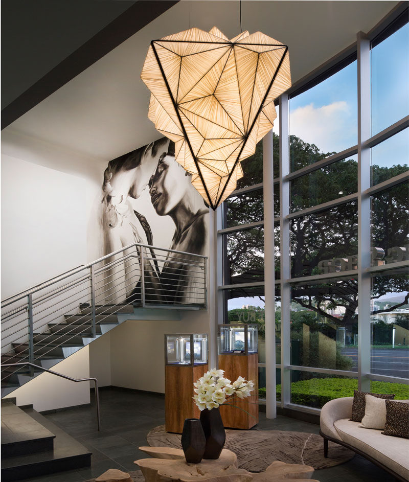 The Zooid Diamond pendant light by Aqua Creations, draws inspiration from organic shapes and forms found in nature, and as a result, the sculptural hanging pendant lamp looks like a precious gem that's just been mined from the earth. #Lighting #SculpturalLighting #LightingDesign #PendantLight