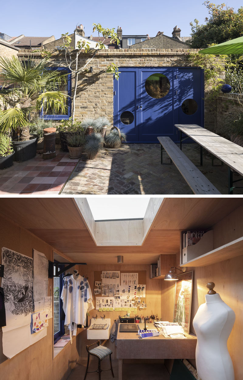 This brick backyard studio with blue accents is home to a start-up fashion label. Inside, a foldable table in studio allows the space to have flexibility. #BackyardStudio #Workshop