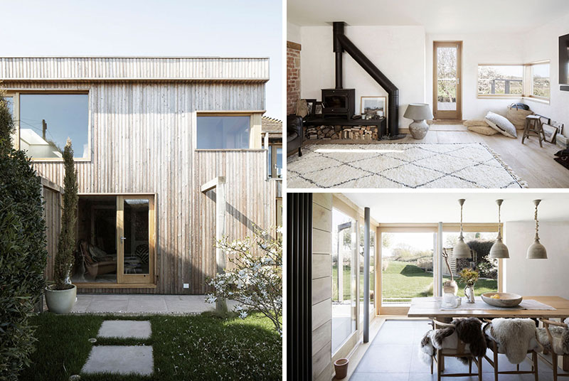 Paul Cashin Architects has designed a wood covered addition for a 200-year-old cottage on the south coast of England overlooking Chichester Harbour. #WoodAddition #HouseAddition #WoodSiding