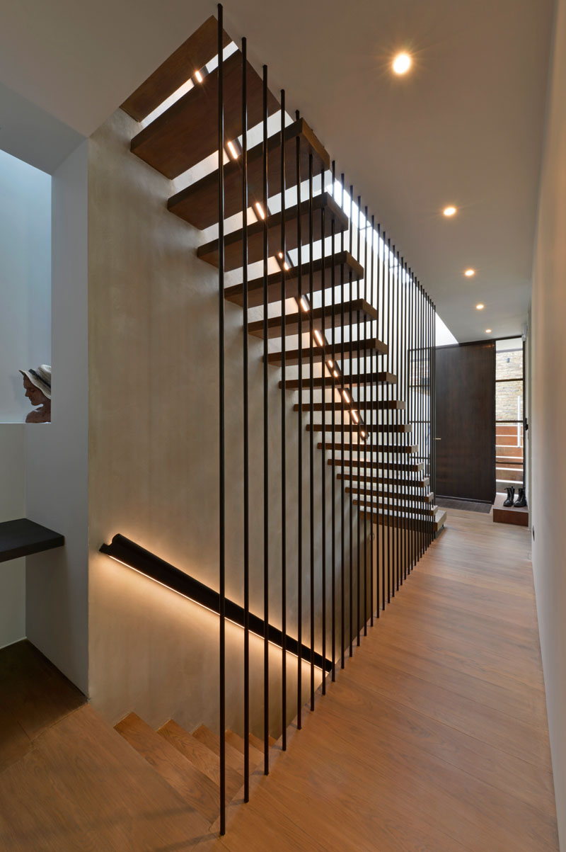 Design Detail These Wood Stairs Have A Handrail With