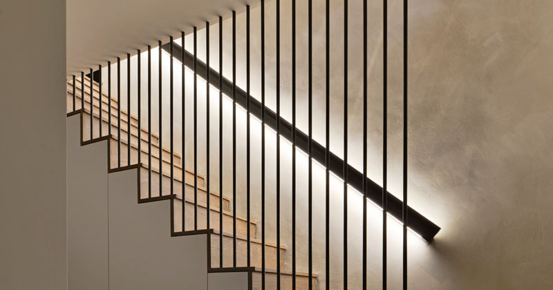 Design Detail - These Wood Stairs Have A Handrail With Hidden Lighting