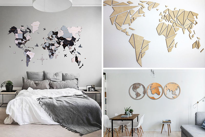 Wood world map wall art is a great way to add a natural element to your walls, and at the same time, create a focal point for your interior.
