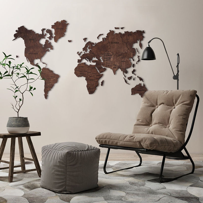 This large wood world map is made from birch plywood, with a dark stain, creating a natural look.
