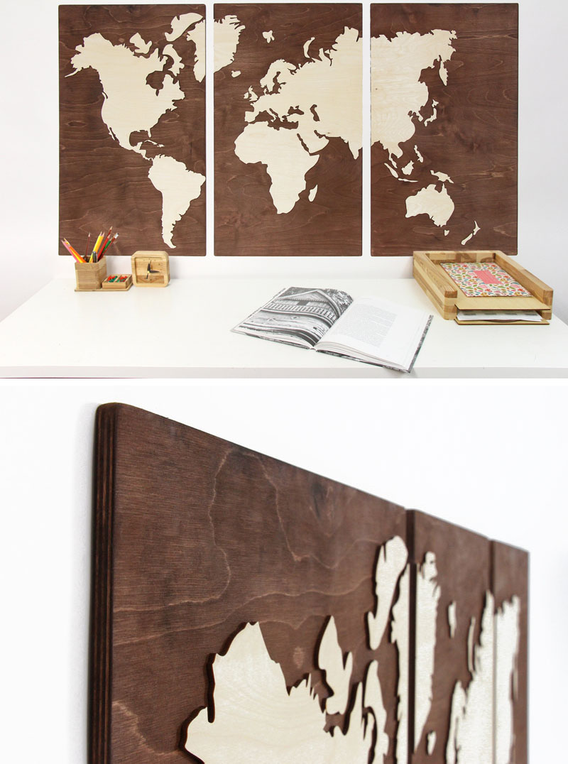 This wood world map is made from birch plywood, and comes in three panels, providing flexibility when mounting on the wall.