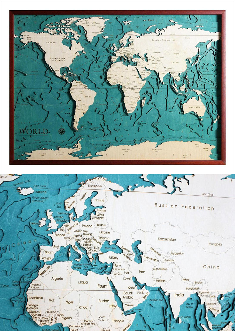 Made in Italy, this laser cut world map is inspired by nautical and topographical maps.