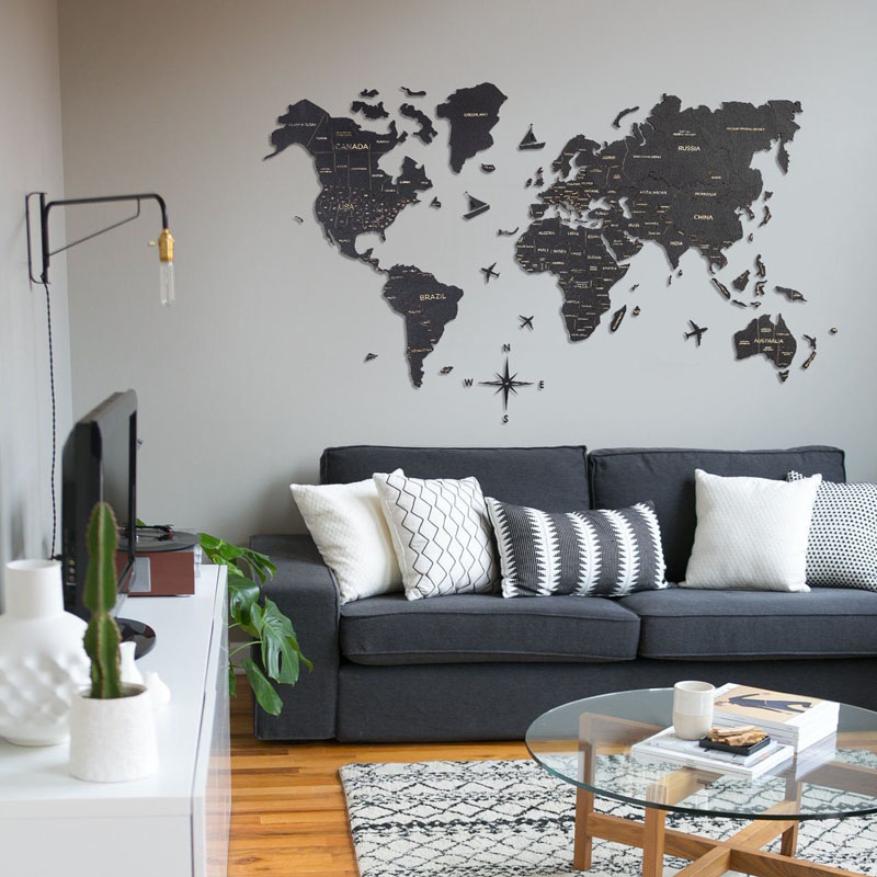 This modern and dark world map wall art has the different areas of the world outlined and easily readable.