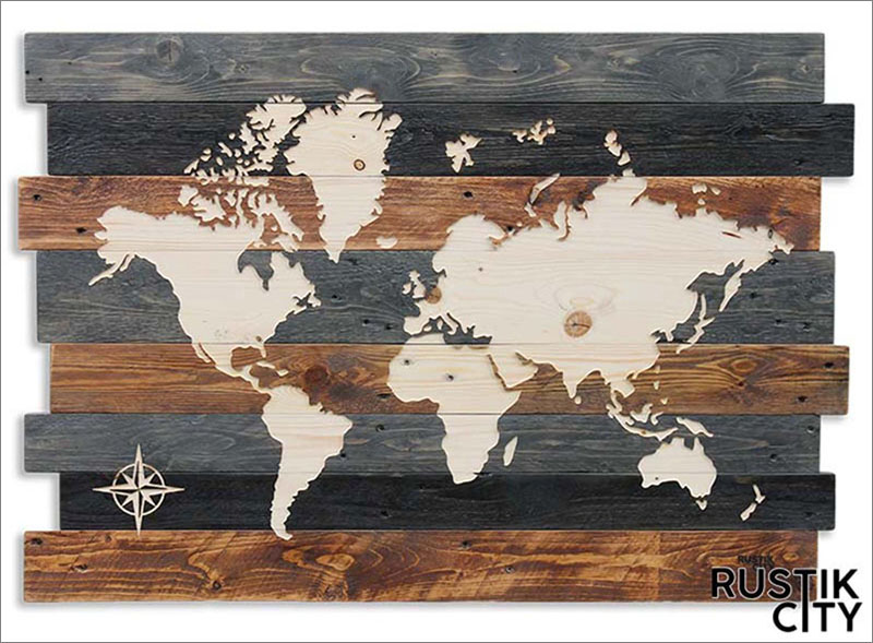 Multi-colored wood strips are the backdrop for this engraved world map that shows off the natural wood grain.
