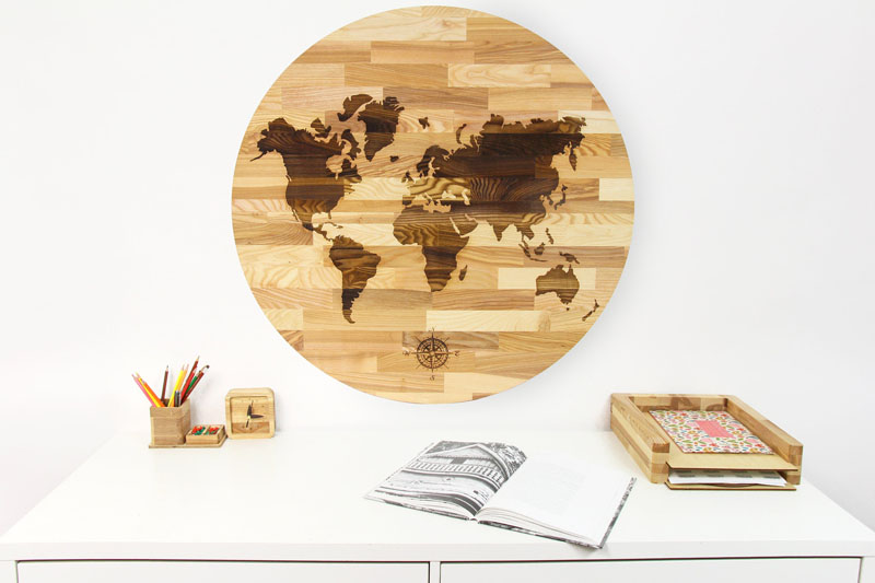 This round world wall map comes in two parts that easily connect together to create the overall look.