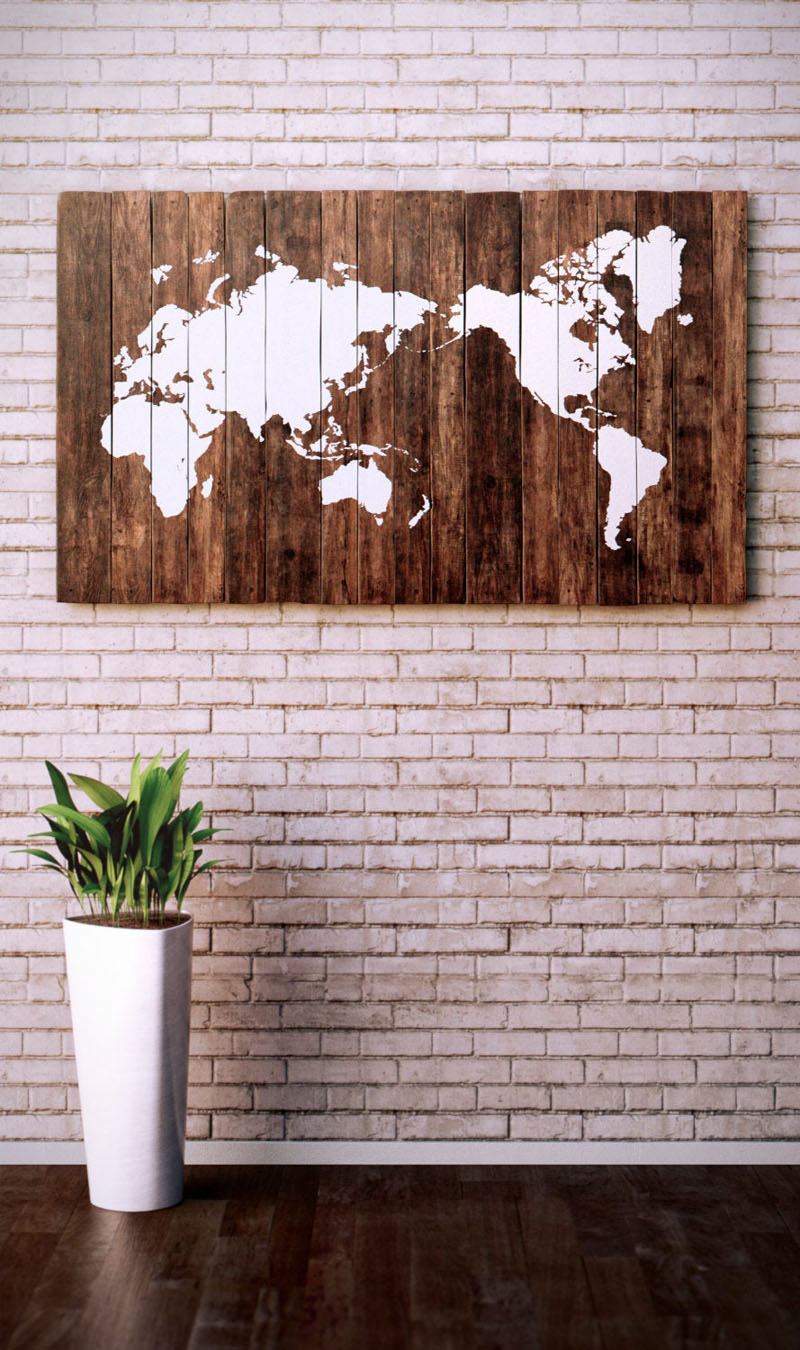 Using reclaimed pallet boards, the designer of this world map wall art centered the map on the Pacific Ocean.