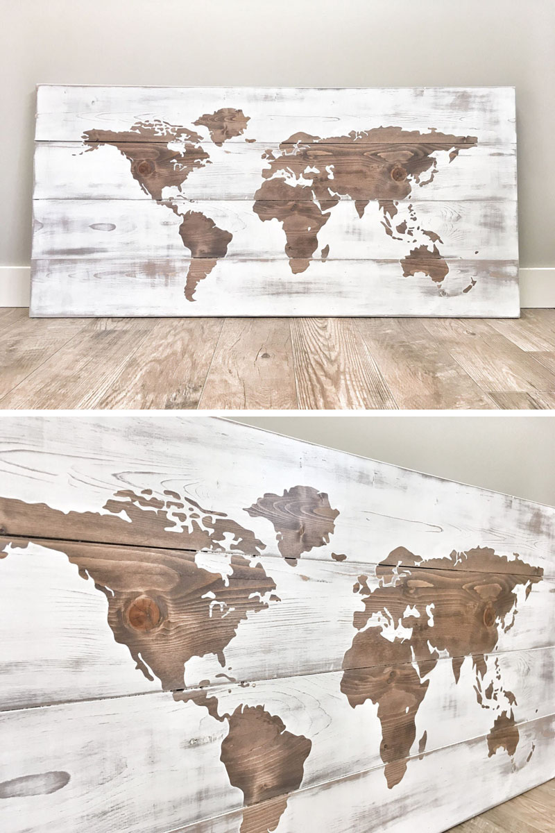 The wood of this world map has been sanded smooth, stained in a walnut brown, painted, and distressed by hand, to create a unique look.