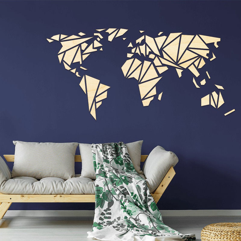 Inspired by origami, this world map is a mosaic of wood pieces, that when pieced together create a modern art piece.