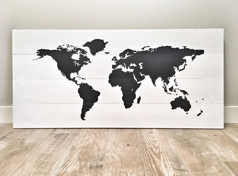 Suitable for both a modern interior, or a rustic one, this black and white wall map provides a silhouette of the world.