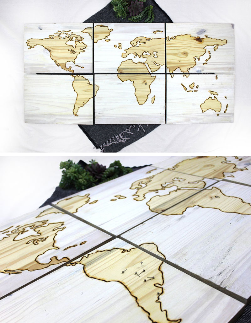 This 6 panel wood world map, has its edges where land meets water, wood burned by hand, creating an engraved effect that both accentuates the lines between the natural wood color and white wash, as well as adds texture.