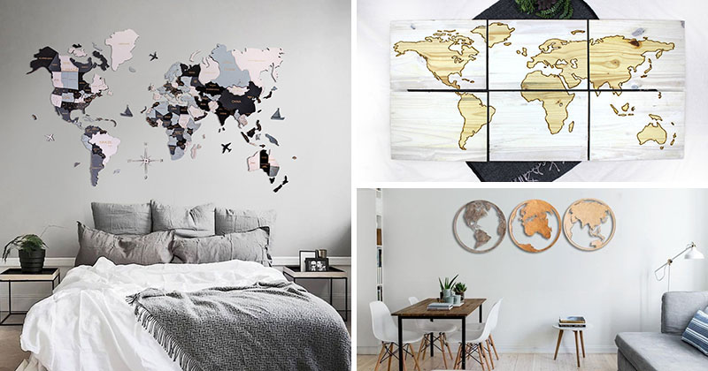 25 World Map Wall Art Designs Made From Wood