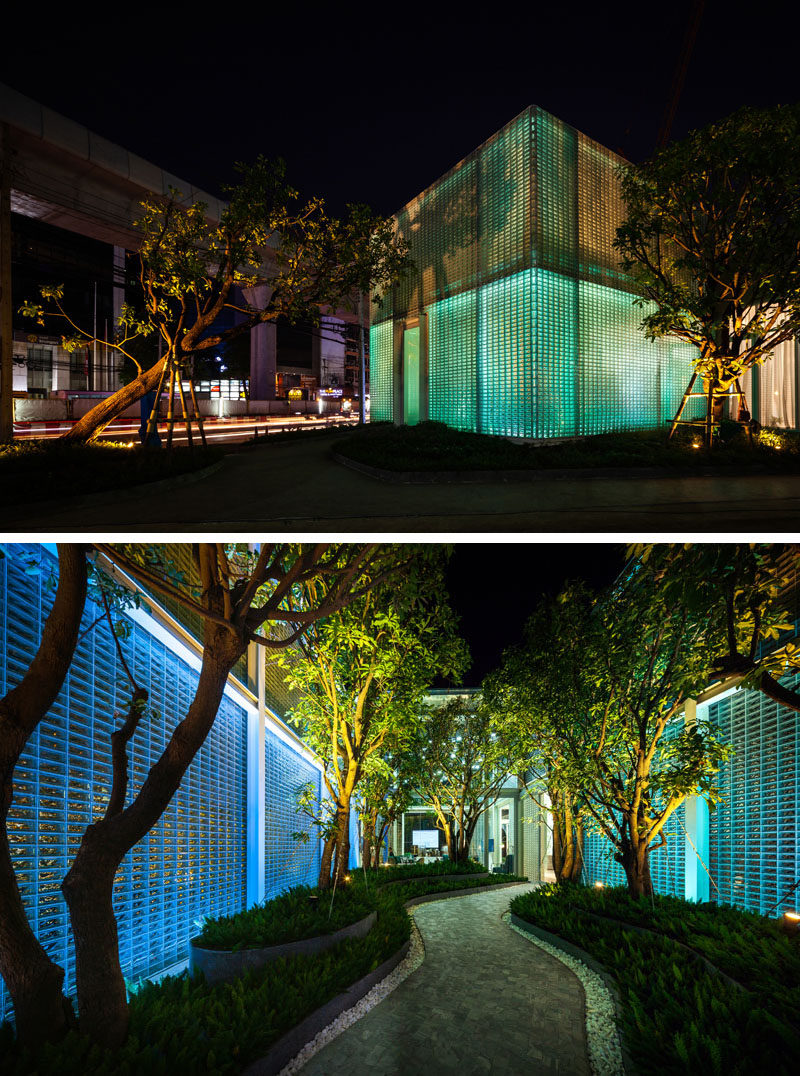 Architecture Ideas - 20,000 rectangular glass blocks were used to create a modern building that also hides an interior courtyard. #GlassBlocks #Architecture #BuildingIdeas #Lighting