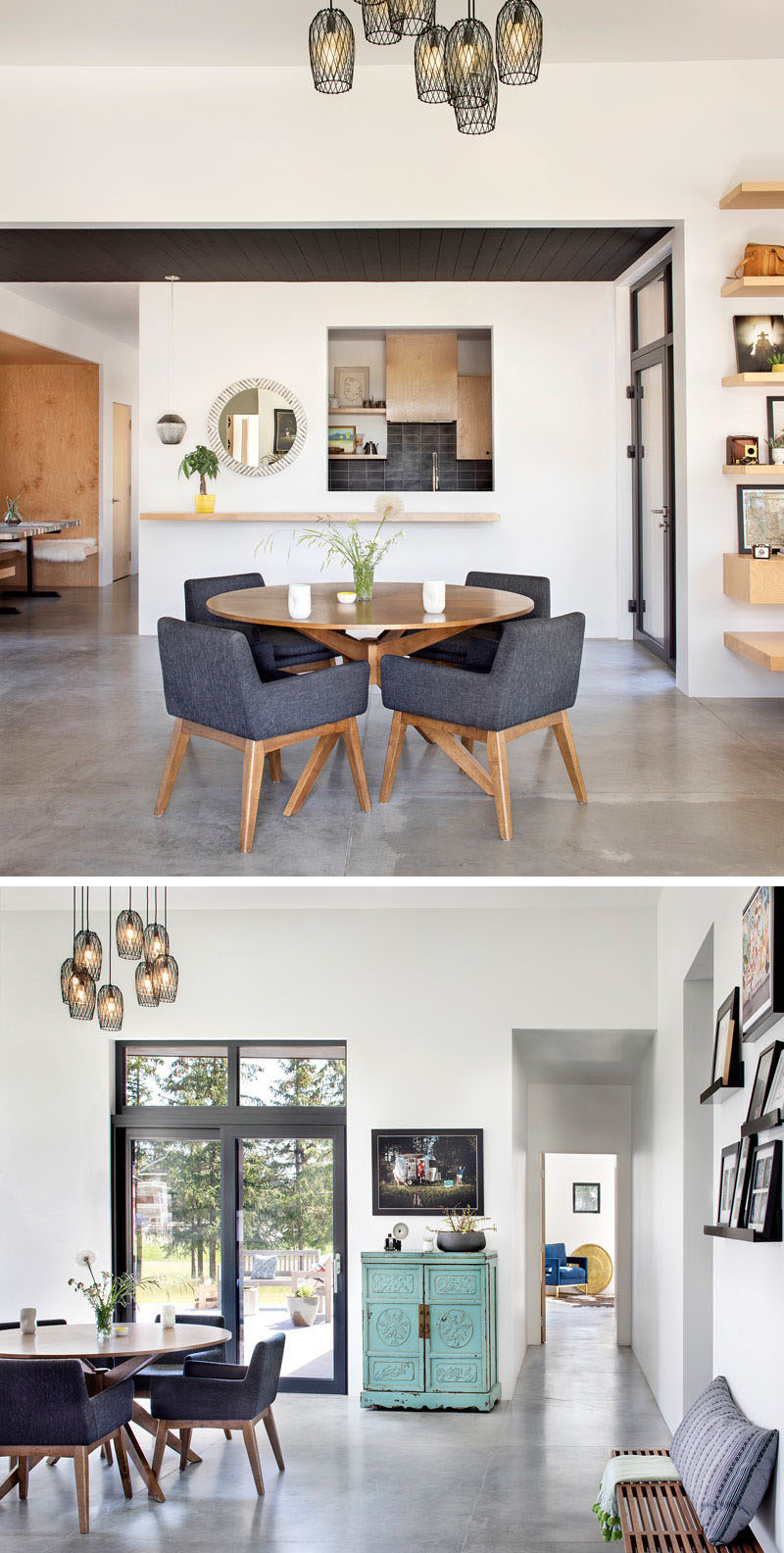 This open plan dining area has a round table that sits below a collection of delicate pendant lights, while white walls and concrete floors, with radiant in-floor heating, are featured throughout the home. #DiningRoom #ConcreteFloors #ModernInterior