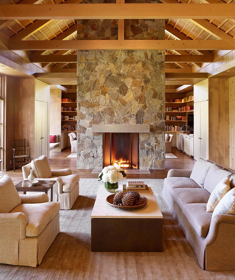 Contemporary Living Room Stone Fireplace 090719 1053 05 Contemporist