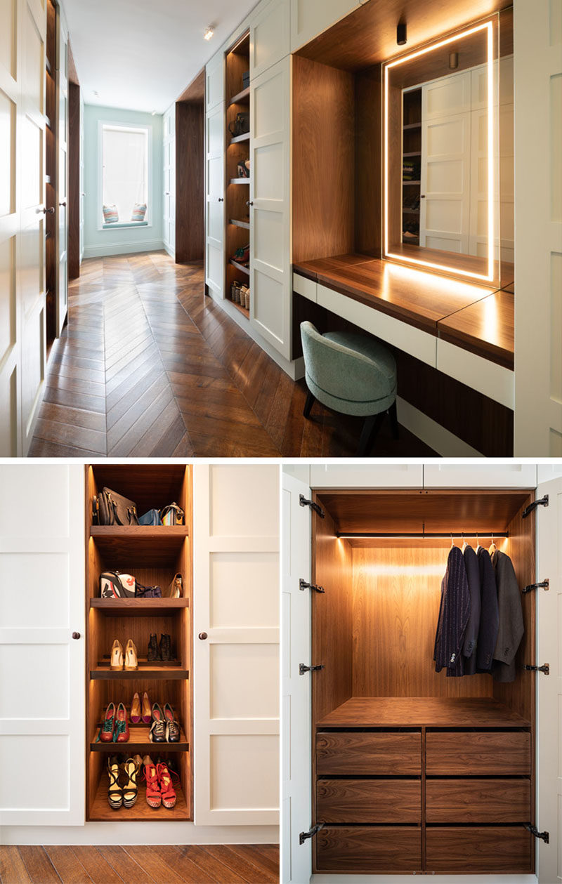 Dressing Room Ideas - The dressing room combines square edged 4-paneled sprayed doors and American Black Walnut cabinetry with accent LED lighting for a luxurious, timeless finish. #DressingRoom #Cabinetry #MakeUpVanity