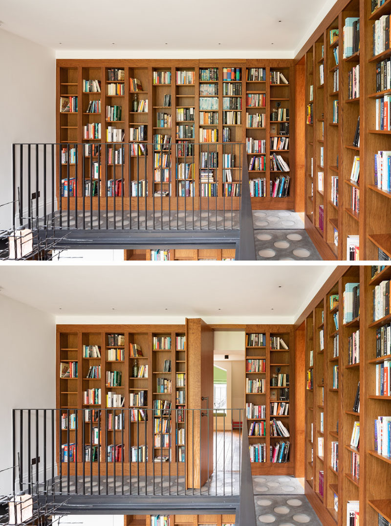 Secret Door Ideas - The second story of this home library has a secret door that pivots open, adding to the playful personality of the house. #SecretDoor #HiddenDoor #Bookshelves #Bookshelf #HomeLibrary