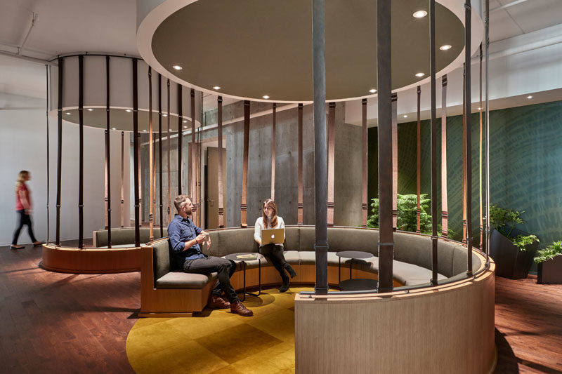Workplace Ideas - The design of this modern communal seating was inspired by Fairy Rings found in the forest. #WorkplaceDesign #OfficeDesign #SeatingDesign #CommunalSeating #InteriorDesign