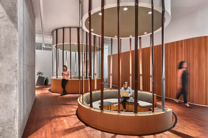 Workplace Ideas - The design of this modern communal sunken seating was inspired by Fairy Rings found in the forest. #WorkplaceDesign #OfficeDesign #SeatingDesign #CommunalSeating #InteriorDesign