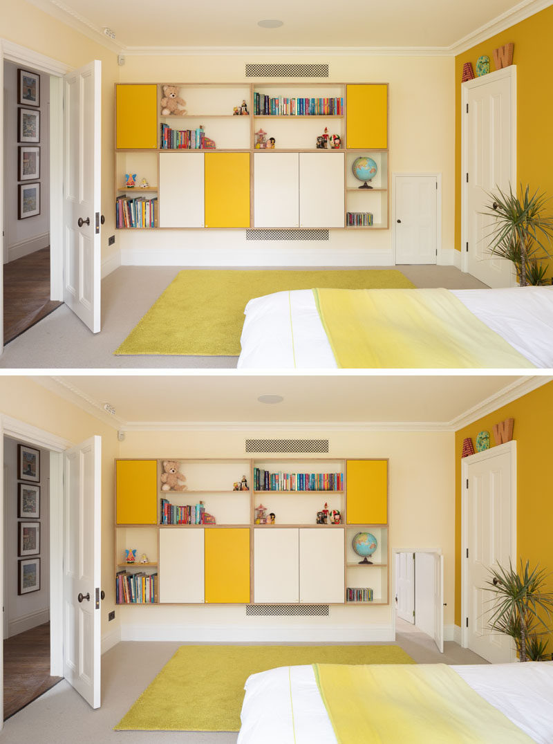 Kids Bedroom Ideas - Whimsy is created in this kids bedroom with bright yellow accents and an Alice in Wonderland door that connects to another bedroom. #KidsBedroom #YellowAccents #BedroomIdeas
