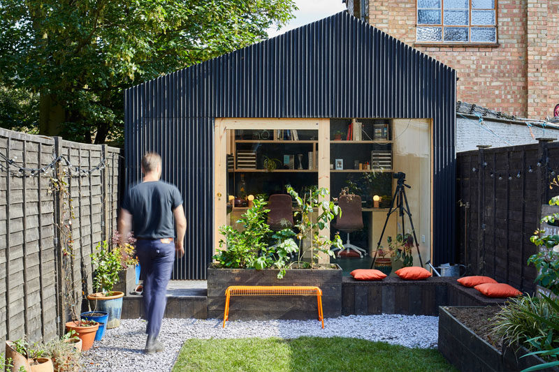 Architecture and design studio Richard John Andrews, has recently completed a small backyard office in London, England, that's used as a workplace for their own firm. #Architecture #BackyardOffice #BackyardStudio