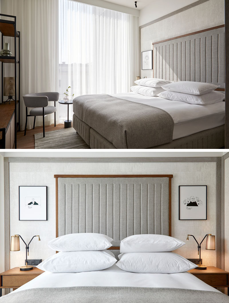 Bedroom Ideas - In this hotel room, a contemporary palette of wood and light grey has been used, while an wood-framed upholstered headboard is flanked on either side by small pieces of artwork. #BedroomIdeas #ModernBedroom #CalmBedroom