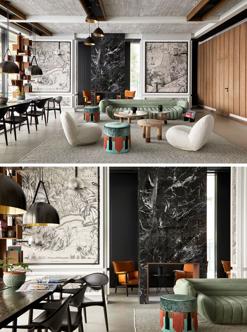 The interiors of the PURO Hotel in Warsaw, Poland, have been designed to evoke a sense of vintage finesse alongside contemporary simplicity, with art adding interest to the walls. #HotelInterior #HotelLobby #InteriorDesign