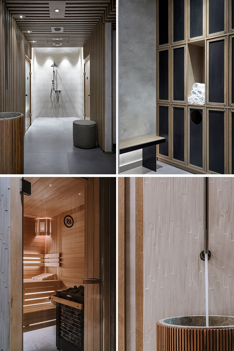 In this modern hotel spa, there's a Scandinavian influence in the design, that's apparent by the use of wood, cool greys, and minimal furnishings. #SpaIdeas #HotelSpa