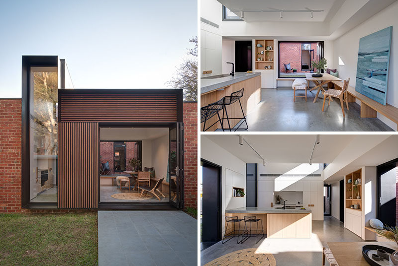 Architecture and design studio Crosshatch, has completed a modern addition on a Californian bungalow in Melbourne, Australia. #ModernAddition #ModernArchitecture #ModernInteriorDesign