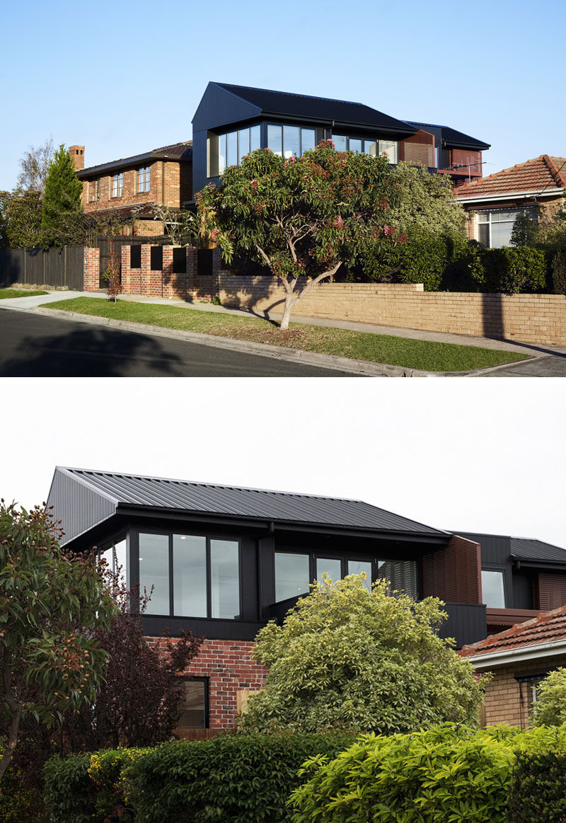 Atlas Architects has designed the 'Brodecky House', a modern house in Melbourne, Australia, that features a Shou Sugi Ban (burnt wood) second floor. #ShouSugiBan #ModernHouse #RecycledBrick