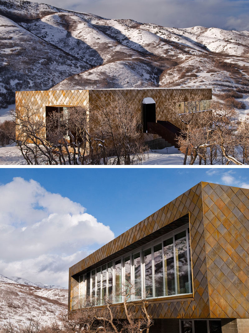 Siding Ideas - The warm colors of weathering steel cladding have been combined with board-formed wood textured concrete and glass for a contextual, low-maintenance and modern material palette for this house in Utah. #WeatheringSteelSiding #SidingIdeas #CortenSteel #Architecture