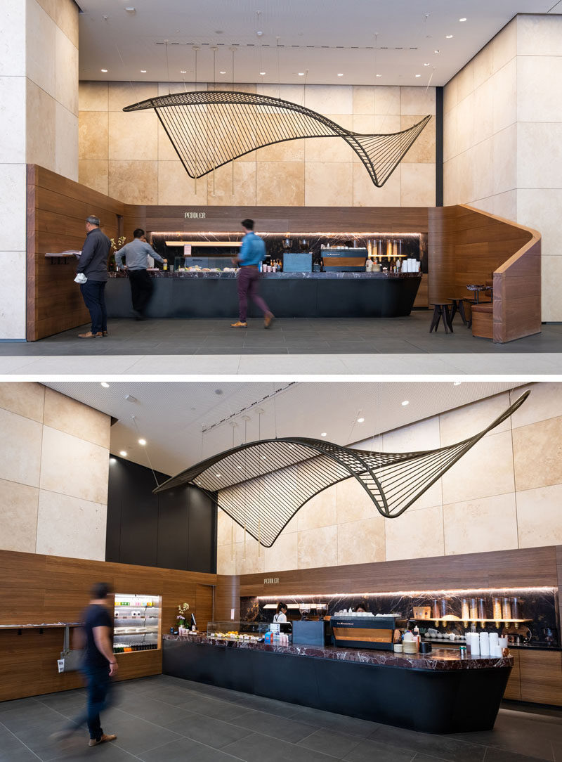 This modern and suspended sculpture in the lobby of an Australian building, was created to reference the traditional Indigenous fishing nets and the history of fishing in the nearby Yarra River. #Sculpture #Art #SuspendedSculpture #Design