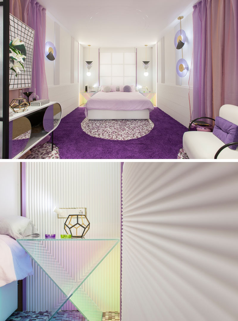 When designing this modern hotel suite, the color violet was chosen as it represents the mixture of masculine with feminine (red and blue), and sensuality with spirituality. #Violet #PurpleInterior #PurpleBedroom #PurpleBathroom