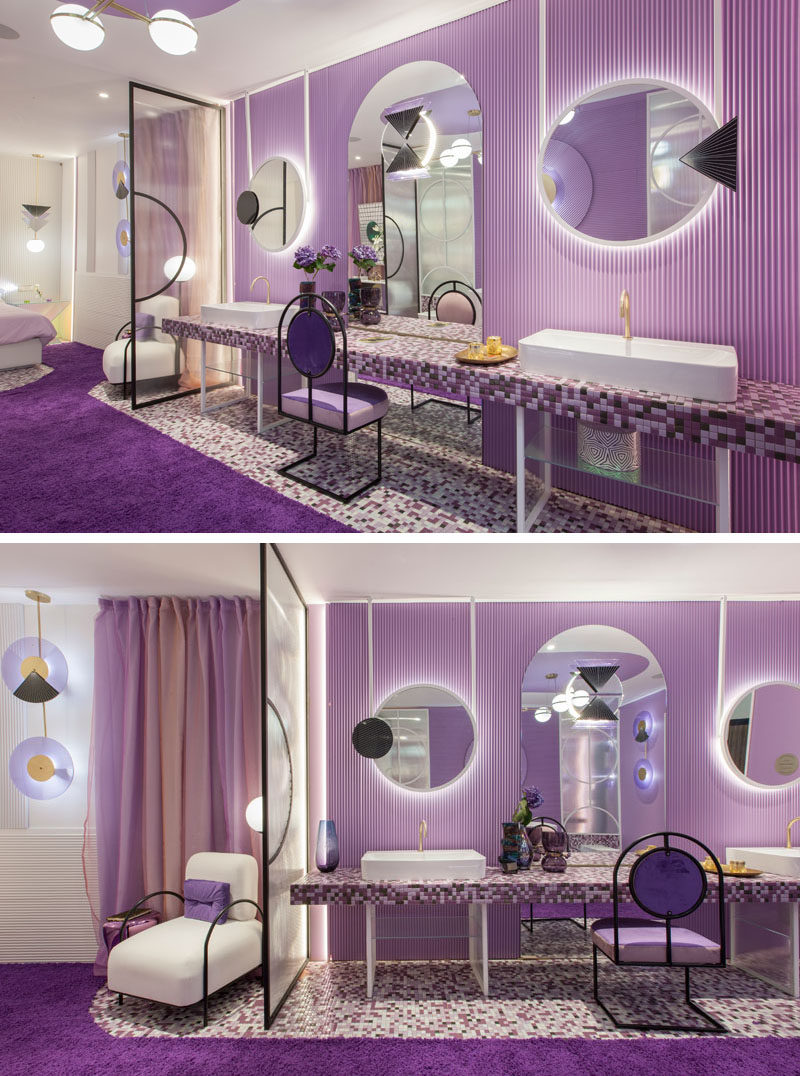 Room Divider Ideas - Delicate glass and metal lattices separate the bedroom from the bathroom in this modern hotel suite. #RoomDivider #Partition #Purple #PurpleInterior