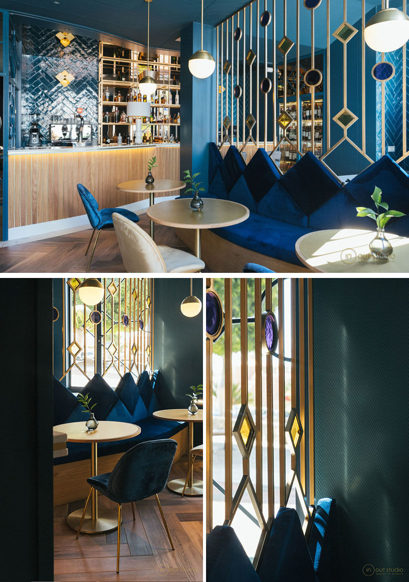 This room divider in a modern restaurant has been named 'jewel screens', as they are designed to highlight the colorful glass inlays in diamond and circle shapes. #RoomDivider #Screen #RestaurantDesign