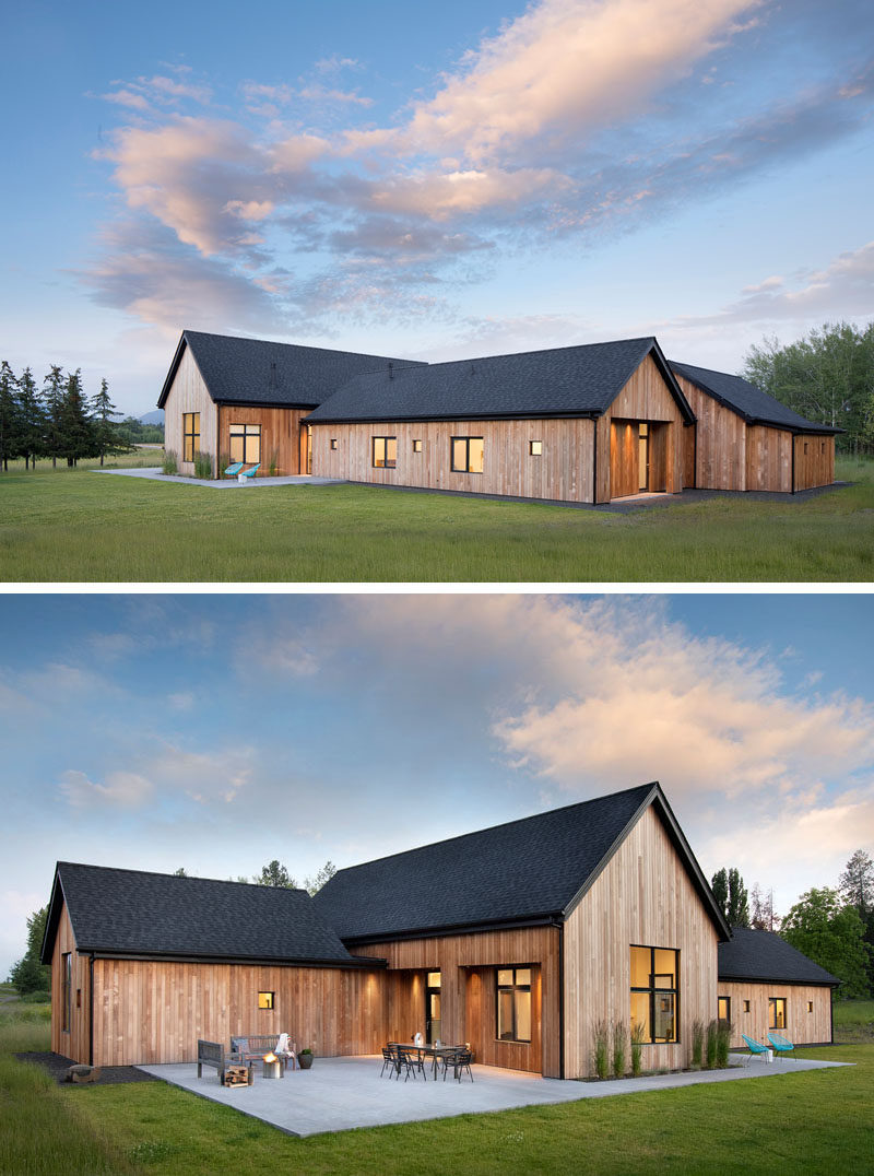 House Siding Ideas - Architecture firm CTA | Cushing Terrell, together with Tate Interiors, has recently completed a modern, rural house in Whitefish, Montana, that's nestled on 4.5 acres of land, features cedar siding, and is designed to take advantage of the surrounding views. #CedarSiding #ModernArchitecture #BlackRoof #WoodSiding