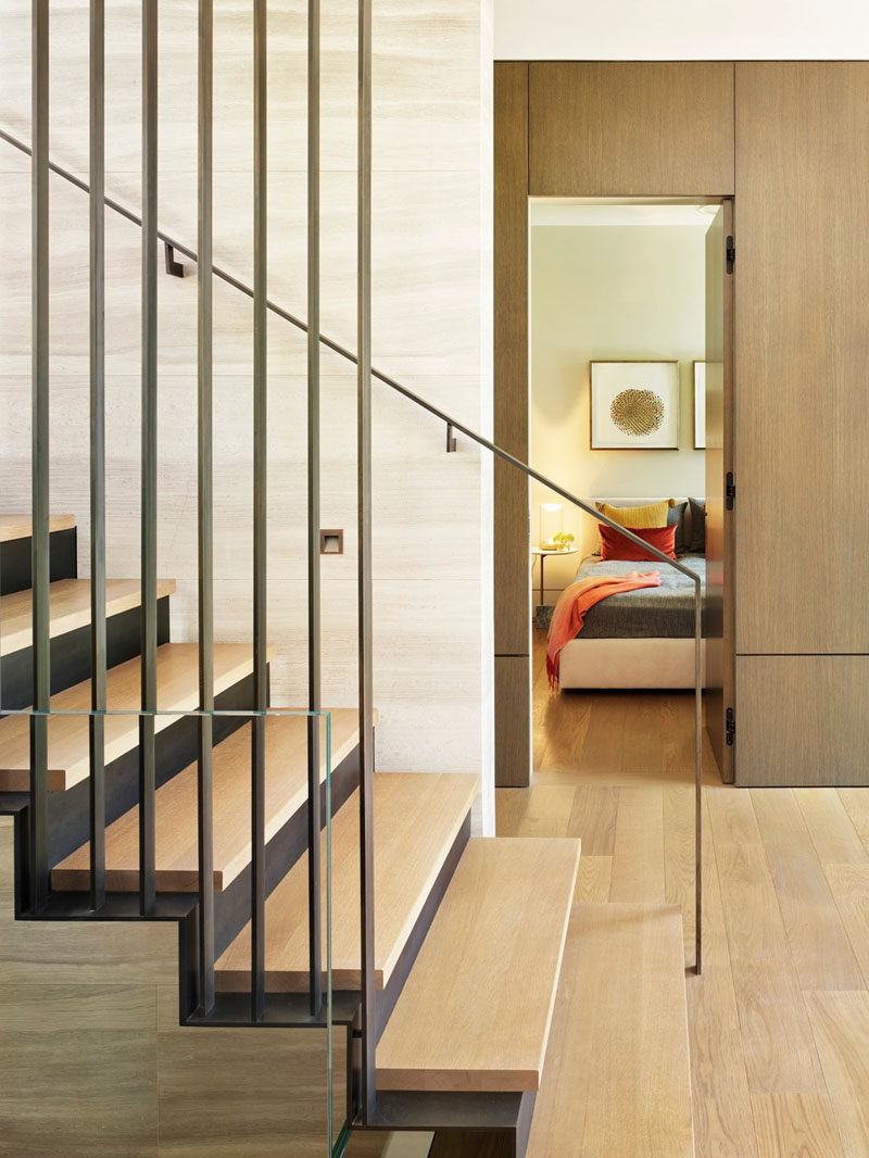 This modern house has a guest suite that's tucked away on the ground floor. #GuestSuite #Bedroom